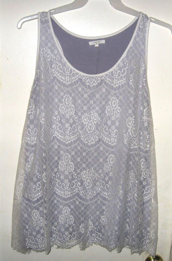 e582b4c0ba07fd Maurices White Lace Floral Purple Lined Tank Top Plus Size 3 24W 26W   Maurices  TankTop