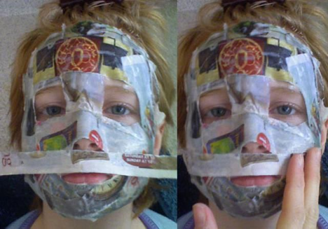 How-to Paper Mache Mask. Learn how to make a custom-fit paper mache mask at home.: Cover the Upper Lip