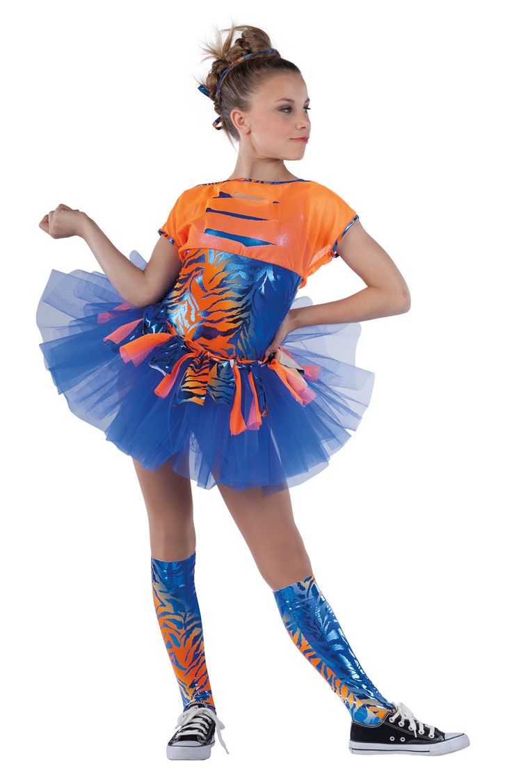 15406 Just Can't Get Enough | Hip Hop Funk Dance Costumes | Dansco 2015 | Orange/royal zebra foil printed, royal foil printed and solid royal spandex leotard. Attached orange mesh top with cutouts and matching strip top skirt. Separate royal net over chiffon tutu. Foil printed spandex binding trim. Socks and binding for hair included.