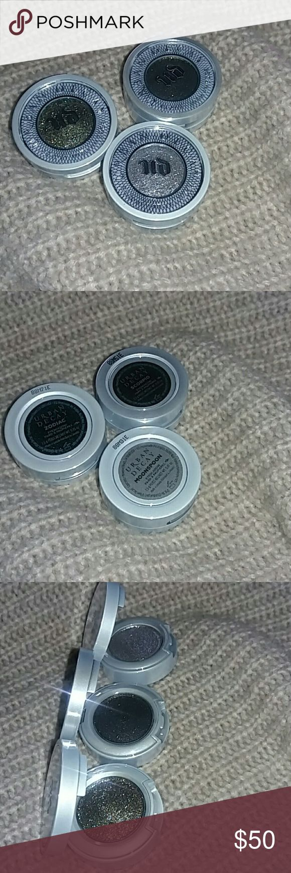 Bundle of 3 Urban Decay Moondust Eyeshadows Brand New without Box Urban Decay Single Moondust Eyeshadows. These are extremely pigmented and georgeous. It can transform any look from basic to glam! ??Included in the bundle are 3 beautiful shades Moonspoon, Zodiac & Scorpio. No Trades! 100% Authentic! Price Firm! Urban Decay Makeup Eyeshadow