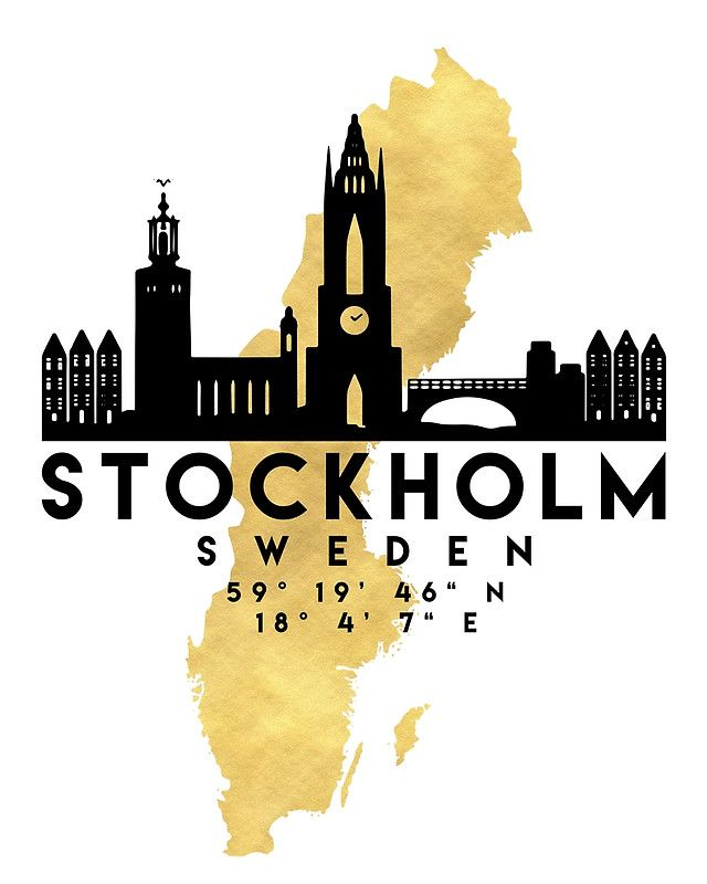 STOCKHOLM SWEDEN SILHOUETTE SKYLINE MAP ART -  The beautiful silhouette skyline of Stockholm and the great map of Sweden in gold, with the exact coordinates of Stockholm make up this amazing art piece. A great gift for anybody that has love for this city.  stockholm sweden downtown silhouette skyline map coordinates souvenir gold deificus art
