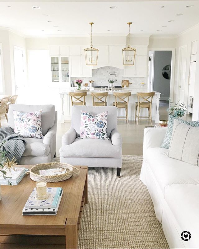 Living Room Decor Open Layout White Sofa Pottery Barn Rug White Kitchen Gold Lanterns Benj Modern Houses Interior Living Room Remodel Living Room Designs