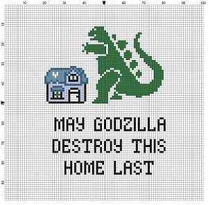 May Godzilla Destroy this Home Last  Good Housewarming gift! Modern cross stitch pattern is designed on 14 count Aida. It will run about 5x7 and will look awesome in an 8x10 frame with a matter, or a 5x7 frame. This pattern will come with 2 different sized full colour patterns, for printing or viewing convenience, and a handy little tips and tricks printout to help you in your quest for cross stitching awesomeness. I can make this for you if you are intimidated, short of time or just lazy…