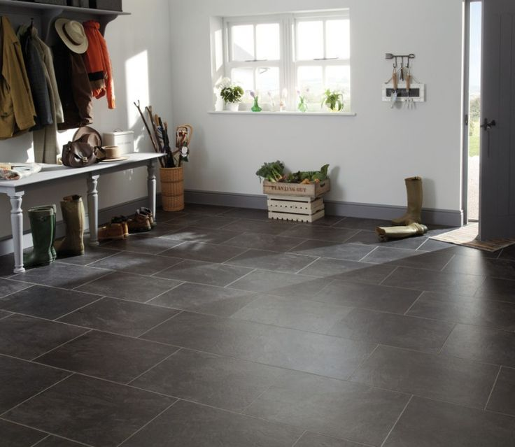 Be brave with your decor and go for alternative looks to make it stand out. This Karndean Canberra Slate tile looks great in a hallway.