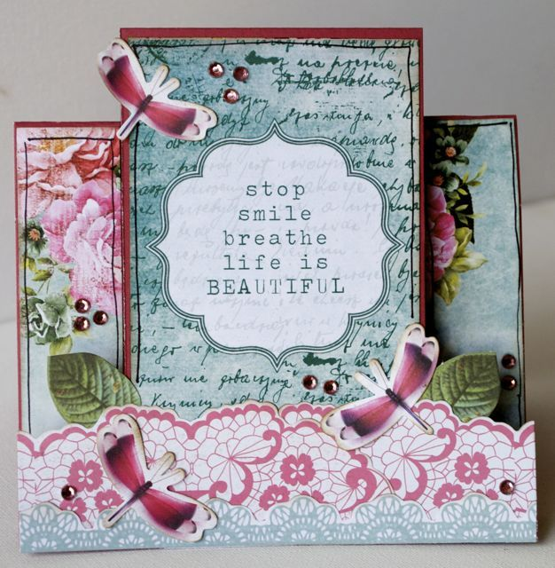 A step card by Kelly-ann Oosterbeek, made using the Oh So Lovely Collection from Kaisercraft. www.amothersart.com.au