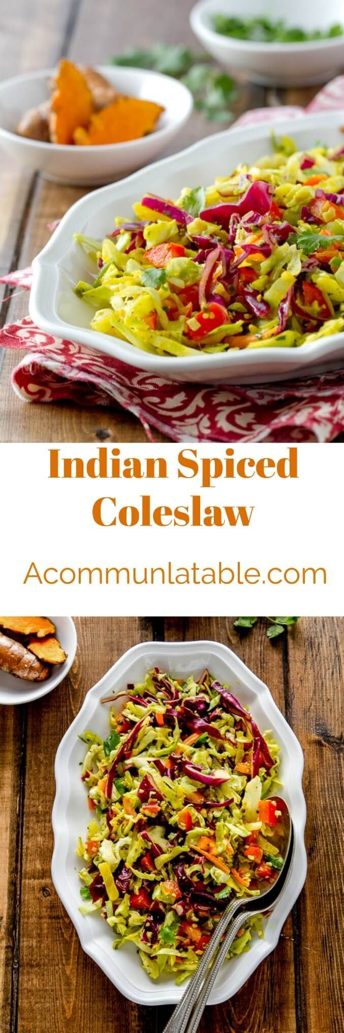 Indian spiced coleslaw is a healthy, no mayo coleslaw recipe with a lovely turmeric spiced dressing that goes with almost anything! #coleslaw #coleslawrecipe #indianrecipes