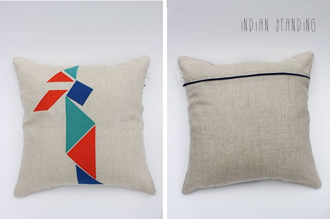 Indian Standing Linen Cushion by PINT SIZE GOODS (The Tangram Tribe Collection)
