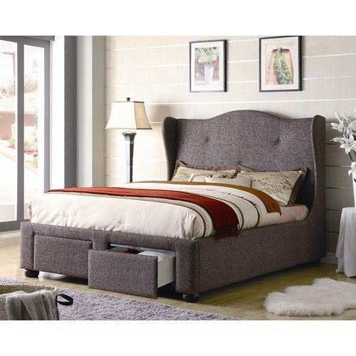 Cleo queen brown tweed wing bed with storage drawers by for Queen upholstered bed with drawers