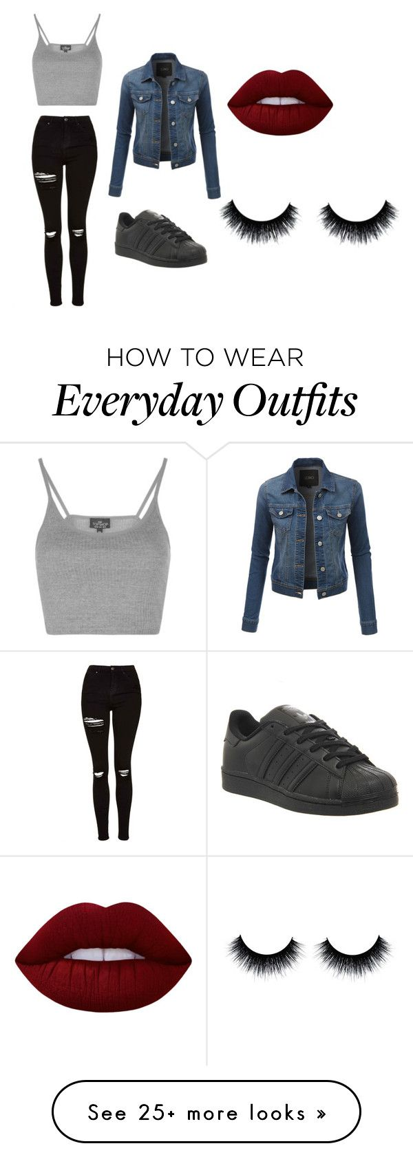 """Casual everyday outfit."" by alanakucmaaa on Polyvore featuring Topshop, LE3NO, Lime Crime and adidas"
