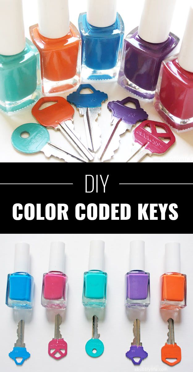 Color Code Metal Keys :+: I only have a few keys that are this style.  The others have the larger black ends or are keyless keys for my van.  (push button start)  So I did this with them.  I did do a few coats for a more opaque look rather than sheer letting it try about 60 min between coats.  Highly recommend this technique.