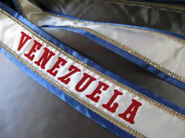 Rhinestone Pageant Sash,  Rhinestone and Embroidered Sashes for sale