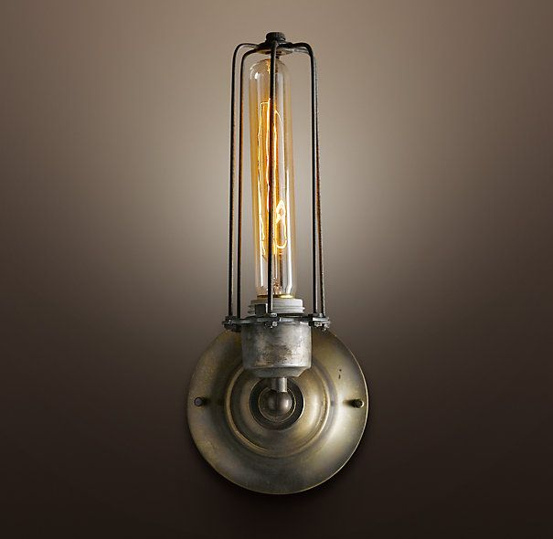 Wall Sconces Edison : Edison Caged Sconce Gunmetal...for family room flanking sofa, using factory cart as table ...