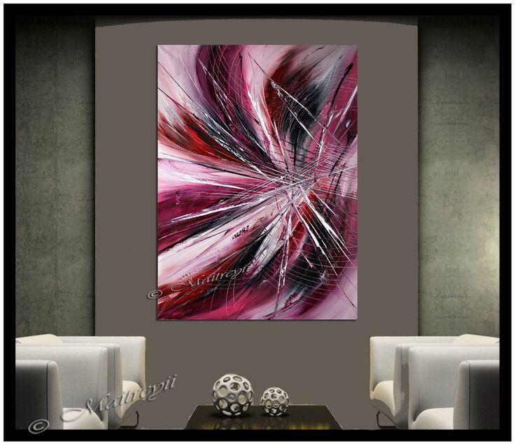 Arte de pintura abstracta ORIGINAL rojo de arte por largeartwork