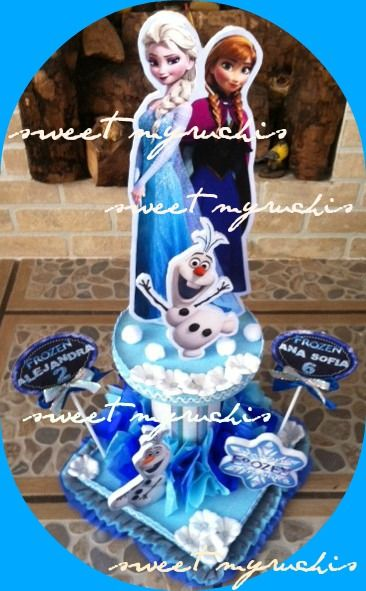 Centros de mesa infantiles, fiesta frozen sweetmyruchis.blogspot.com