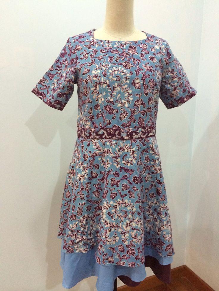 B3 dress made from batik tulis Lasem with soft cotton combination. Dress is made by Dongengan (Facebook: https://m.facebook.com/dongengan)