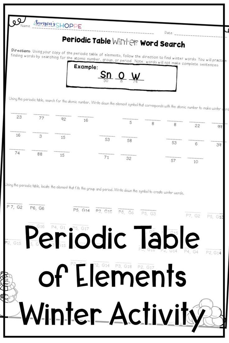 Periodic Table Celebrate Winter And Review The Periodic Table Of Elements With This Fun Activity Letter Recognition Worksheets Winter Words Word Activities [ 1104 x 736 Pixel ]