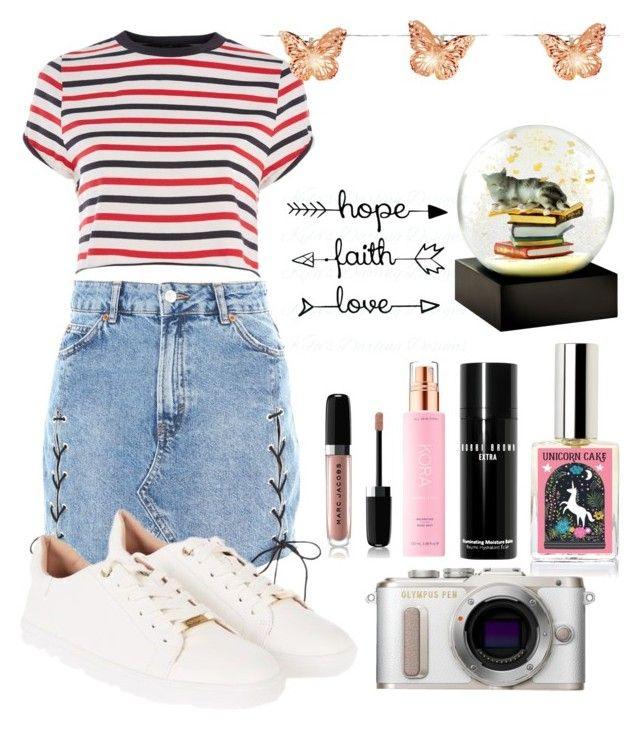 Denim Skirt By Fun Me Liked On Polyvore Featuring Topshop Marc Jacobs Kora Organics By Miranda Kerr Bobbi Brown Cosmetics Pl8 Denim Skirt Fashion Denim