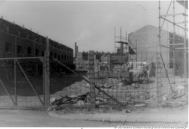 MSE - The Frank Sheen Collection         3 - Photographs showing St.Helens Town Centre  Ref No MSE/3/30 TitleBlack and white photograph showing the new flats under construction in Fox Place, behind Notre Dame convent, St.Helens