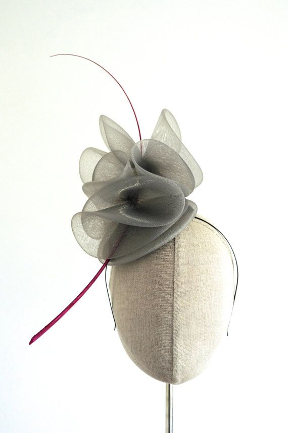Grey Crin Cocktail Hat Racing Mini Hat Wedding by MaynardMillinery, £85.00