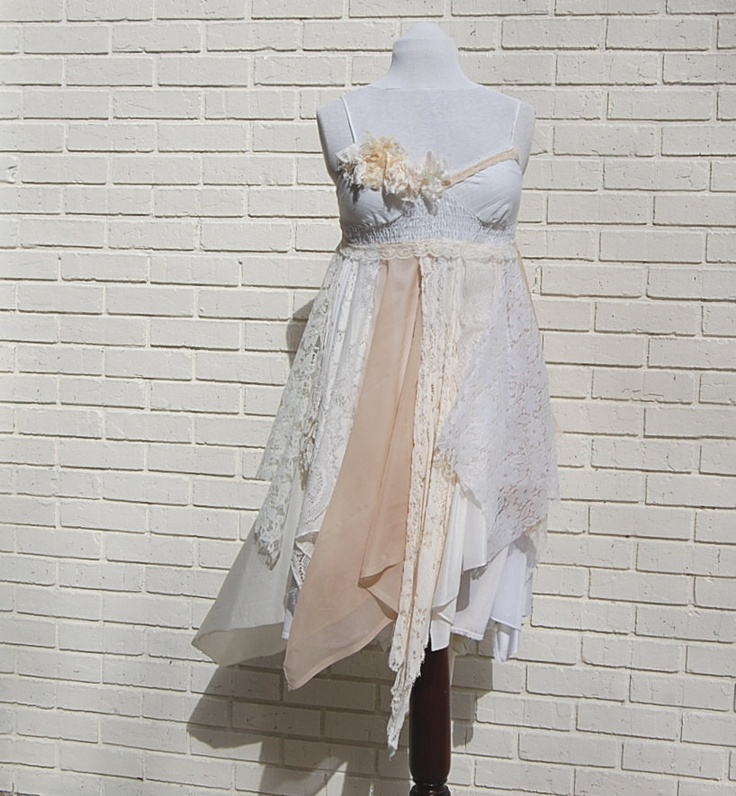 Wedding dress formal shabby tattered fairy woodland for Woodland fairy wedding dress