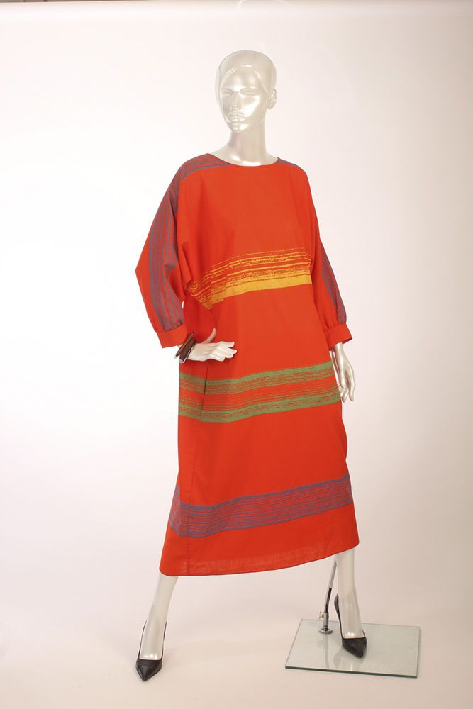 Vtg 80s Vuokko Nurmesniemi Marimekko Designer Orange Abstract print Dress S M L #Vuokko Finland