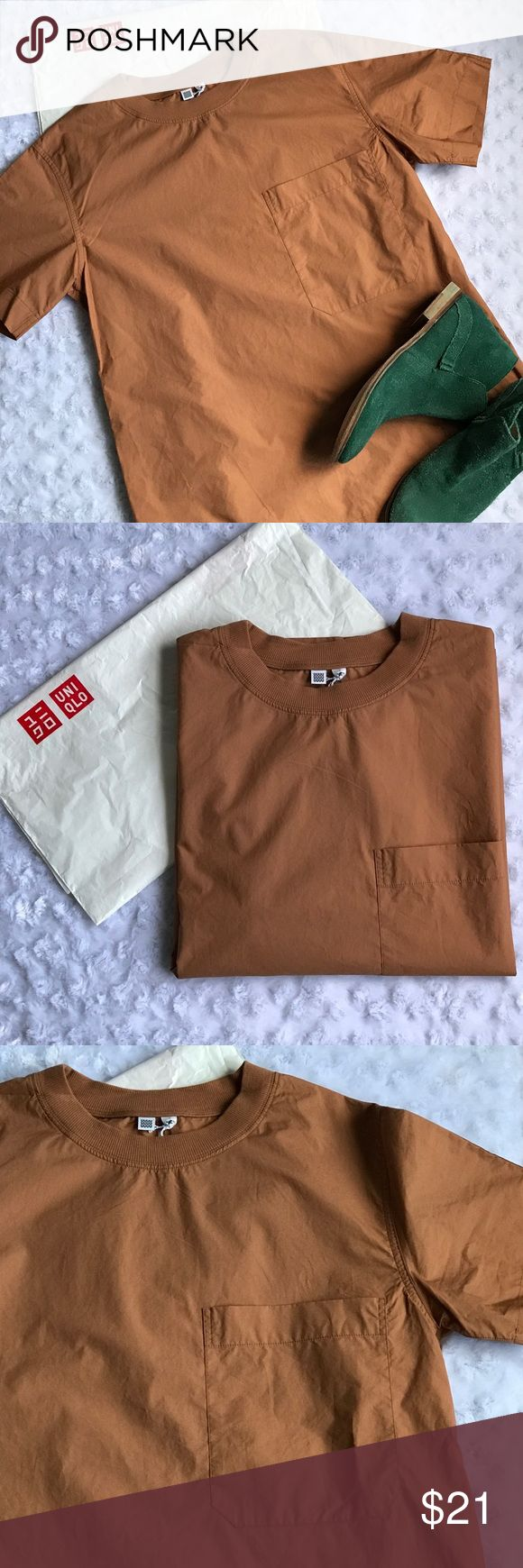 """UNIQLO BROWN SHORT SLEEVE T SHIRT Boxy style. 100% cotton. Bust 33-35"""" Length 26"""". Create your own look with ankle denim or boyfriend denim. #cinnamon #nutmeg Uniqlo Tops Tees - Short Sleeve"""
