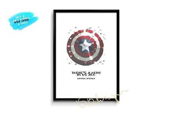 Captain America Poster Shield Poster Shield Watercolor Captain