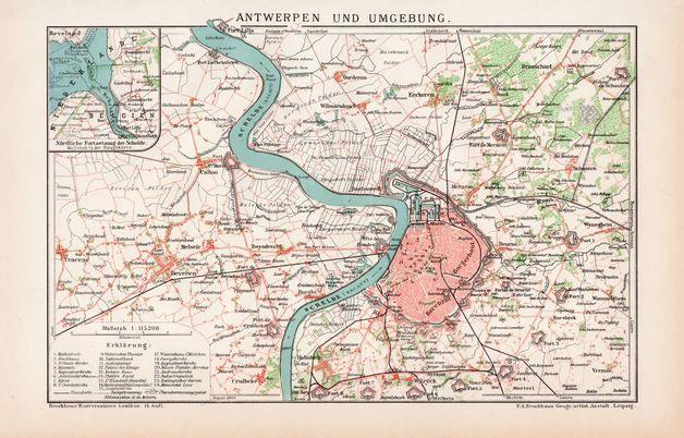 Vintage Landkarten & Reiseliteratur - Antwerpen Umgebung Lithographie ca. 1891 - ein Designerstück von machinatemporis bei DaWanda