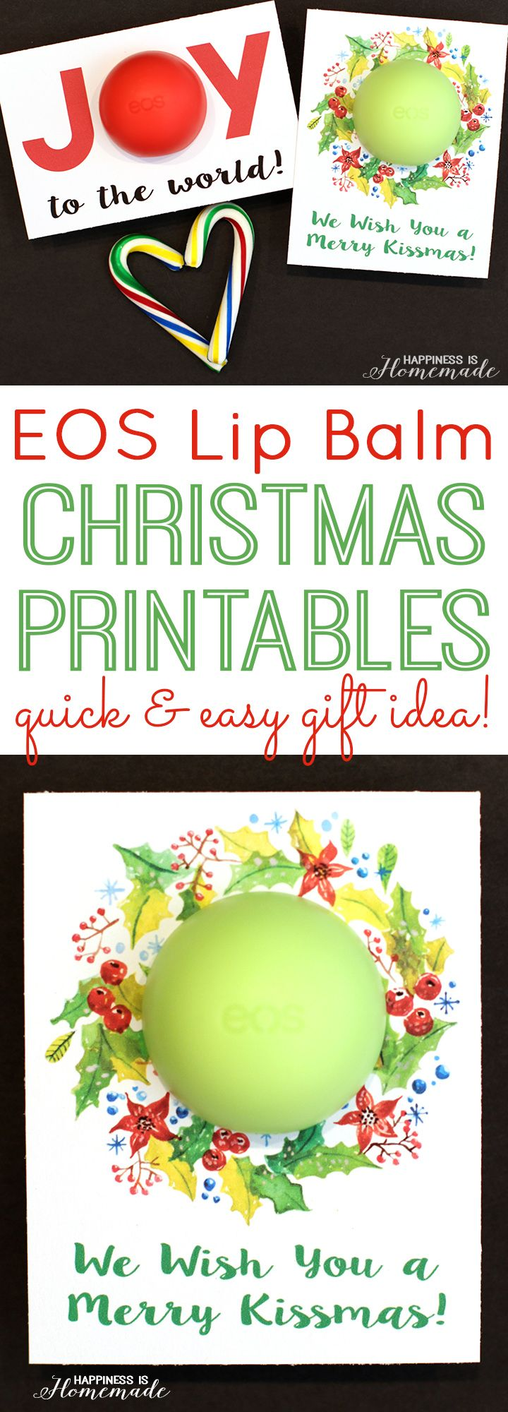 "These printable Christmas cards are a fantastic quick & easy last minute gift idea! Just add an EOS lip balm, and your gift is ready for giving! ""Merry Kissmas!"""