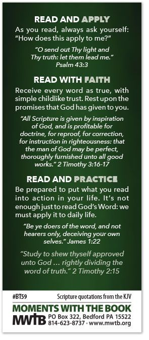 """""""Seek ye out the Book of the Lord, and read."""" Isaiah 34:16 The Bible is our daily guide for life.To follow God's will, we must read it! Here are some suggestion"""