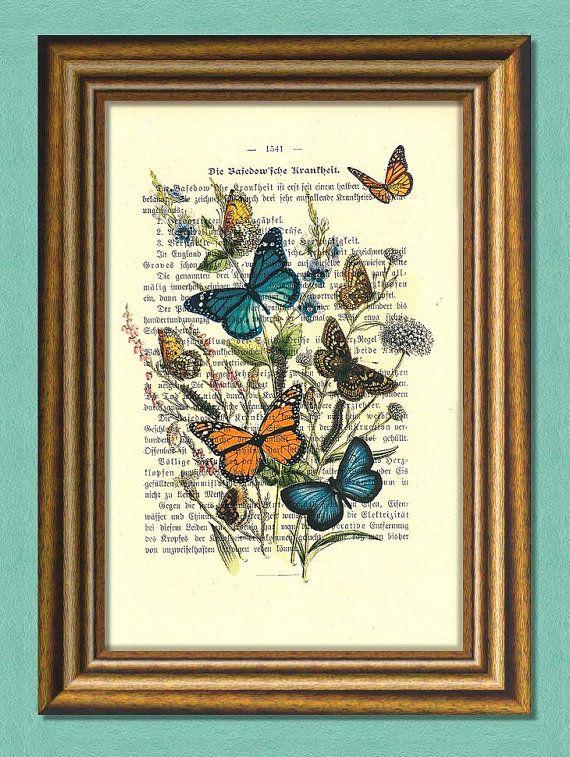 BUTTERFLIES PARTY  Dictionary Art Print  by littlevintagechest