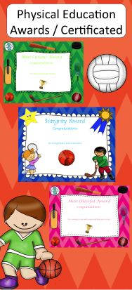 Check out these great end of year physical education awards/certificates.