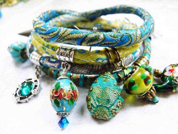 blue lime aqua  brocade wrap  bracelet