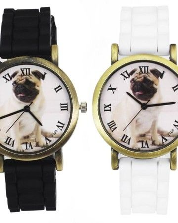 clock-watch-white-black-φθηνά-ρολόγια-μαυρο-ασπρο-χαμηλή-τιμή-plastic-pug-πλαστικό-dog-σκύλος