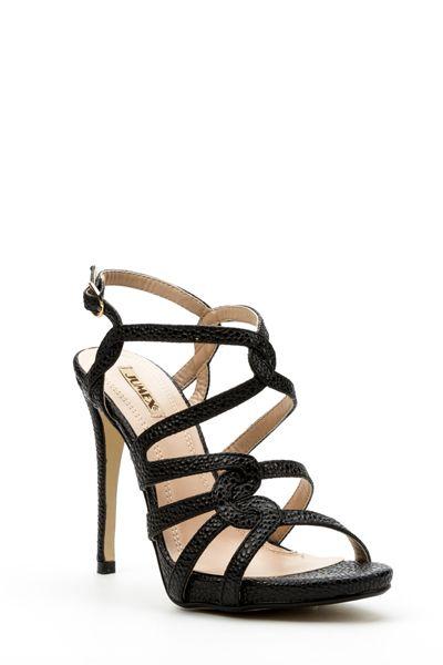 Textured Strap Sandal Heels