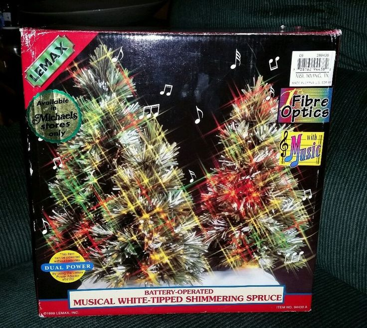 LEMAX MUSICAL  WHITE TIPPED SHIMMERING SPRUCE TREE christmas  FIBER OPTIC