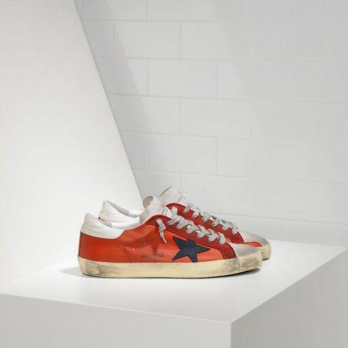 Neue GGDB Schuhe Herren Golden Goose SuperStar Sneakers In Orange Rot Leder Mit Schwarz Wildleder Star Sale