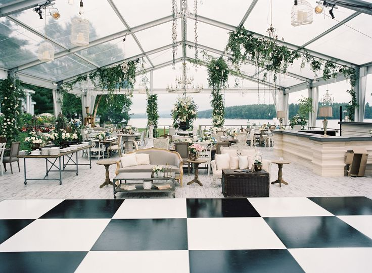 DECOR/ Dance floor | Clear tent wedding with black and white checkered dance floor wedding