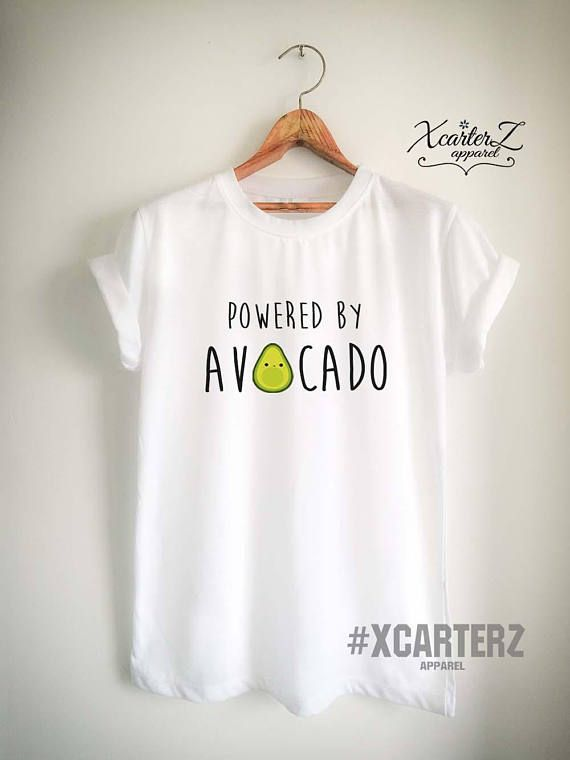66ad8add49d3 Vegan Shirt Vegan T Shirt Avocado Shirt Avocado T Shirt Powered by Avocado T  Shirt Powered by Shirt Powered by T Shirt Vegetarian Top Tee in 2019