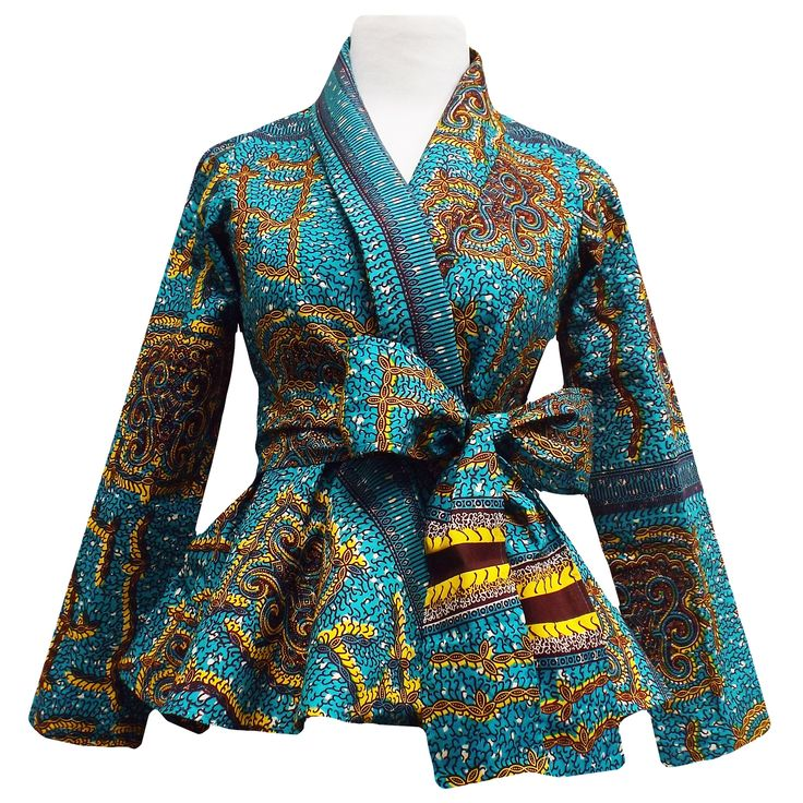 Diola African Print Peplum Blazer (Teal/Yellow)