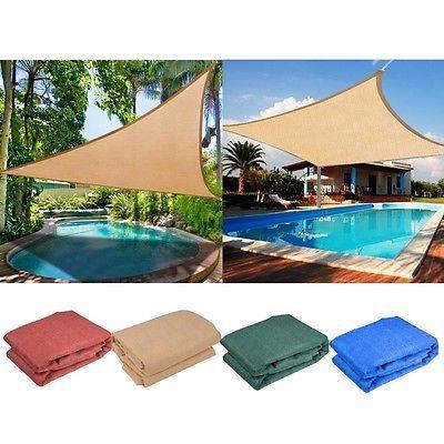 Sun Shade Sail UV Top Outdoor Canopy Patio Lawn 11.5' 16.5' Triangle 18' Square