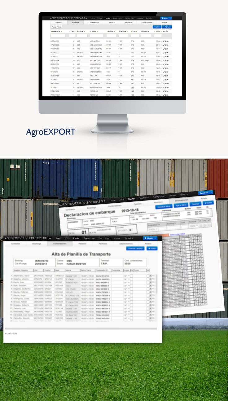 En DOMO desarrollamos un sistema de Intranet para el control y proceso de exportación de alfalfa al extranjero en contenedores por barco.