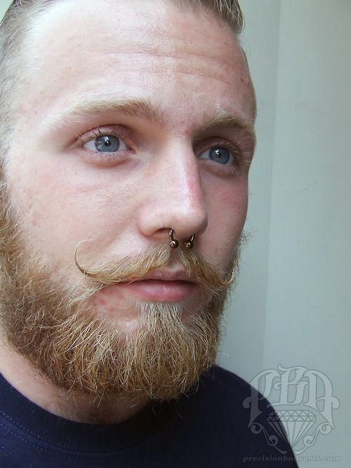 Healed septum piercing by Ryan Ouellette.Precision Body Artsin Nashua, New Hampshire. Jewelry by Anatometal.