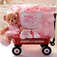 "Beary Ballerina  $94.94 How charming! This very ""beary"" ballerina Radio Flyer Wagon (approx size 12 x 12 x 17) is filled with wonderful treasures for the future ballerina! Baby can match her new fuzzy bear with coordinating *Minky Dot Travel Blanket,Personalized Ballerina Onesie *Ballerina Bib, Sleep N Play,and Booties. Personalize this sweet gift for Free at Checkout!"