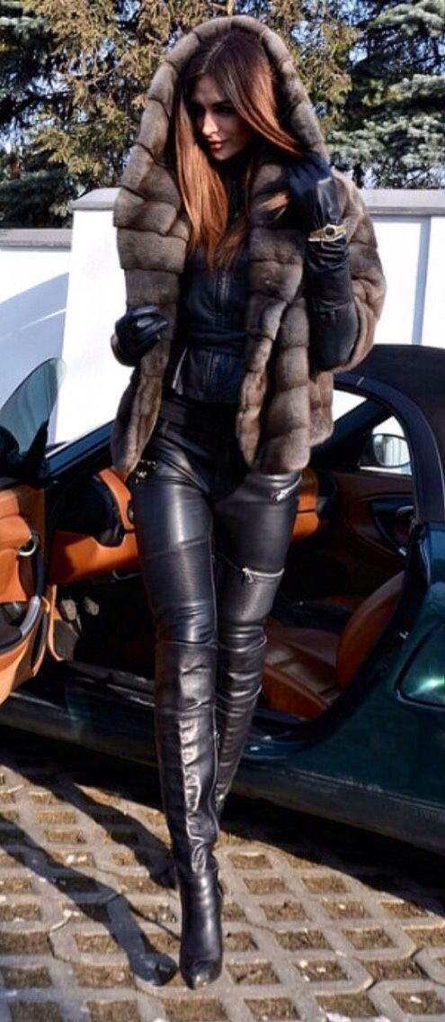Black leather over the knee boots, leather leggings, fur jacket, sexy outfit ideas