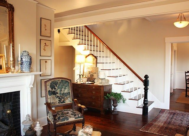 For the Love of a House - looking towards entry/stairs (walls are Benjamin Moore's Ashwood)