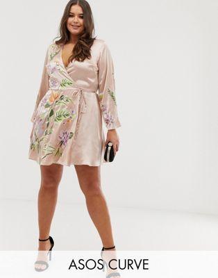ce75ce753dd DESIGN Curve satin kimono jacket mini dress with floral embroidery ...