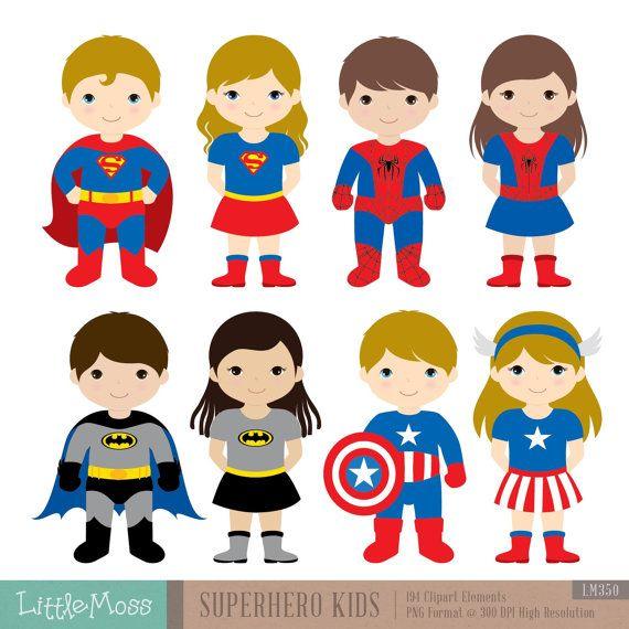 36 kinderen superheld kostuums Clipart superhelden door LittleMoss