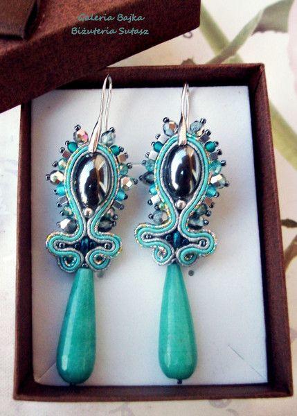 """Kolczyki sutasz (soutache) """"Grey eye"""" w Galeria Bajka Soutache Jewelry na DaWanda.com"""