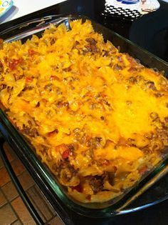 Cheeseburger Noodle Casserole (Weight Watchers recipe) made this. substituted fat free greek yogurt for the sour cream  - tastes the same and less points. i made it with rotini because we had it in the cabinet. would like to try it again using no-yolk egg noodles.